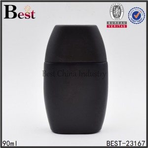 flat round black perfume bottle 90ml
