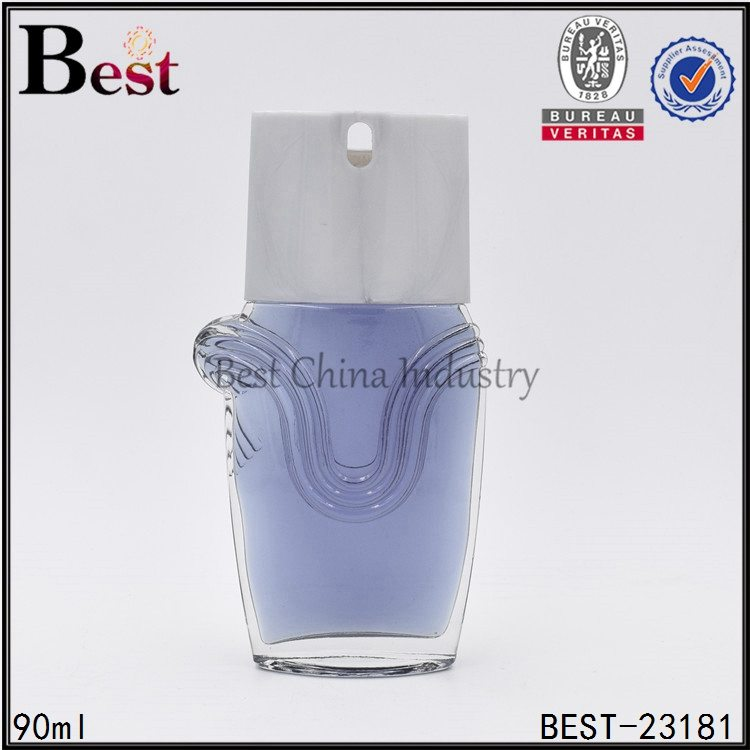 clear glass perfume bottle with special cap 90ml