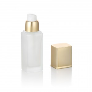 20ml 30ml 40ml empty square clear frosted gold pump liquid foundation packaging glass bottle