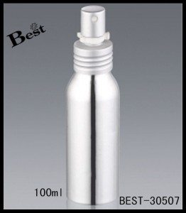 shiny silver aluminum sprayer bottle for perfume 100ml