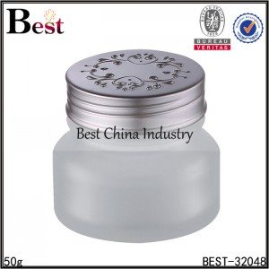 frosted glass jar with silver cap 50g