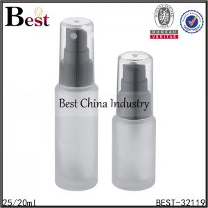 frosted glass bottle with sprayer and pump 25/20ml
