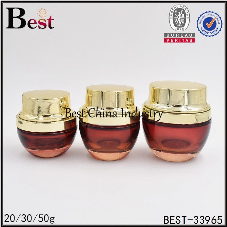 red cream glass jar with gold cap 20/30/50g