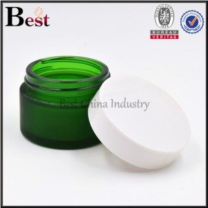 frosted green glass jar with white cap 30g