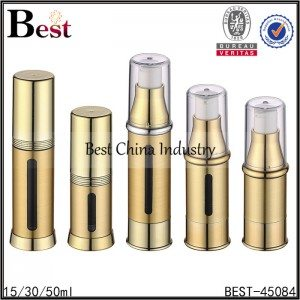 gold aluminum cover, AS material airless lotion bottle 15/30/50ml
