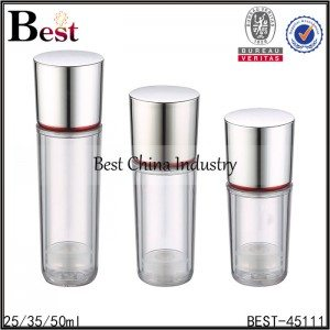 clear acrylic bottle with silver aluminum cap 25/35/50ml