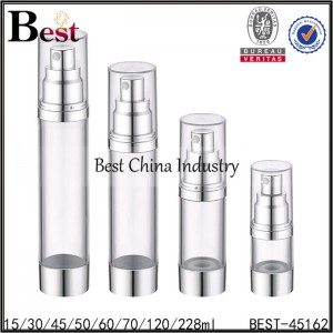 clear airless bottle silver pump 15/30/45/60/70/120/228ml