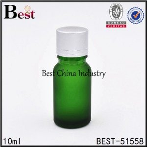cosmetic matte green color glass bottle with aluminum cap for sell 10ml