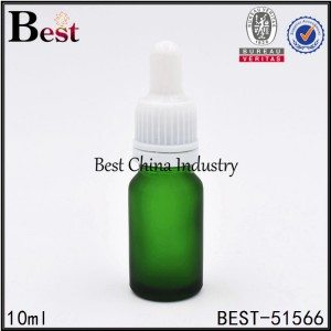 matte green color cosmetic glass bottle with dropper 10ml