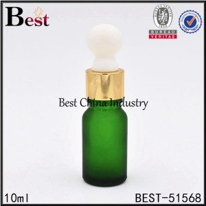 matte green color glass dropper bottle for cosmetic 10ml