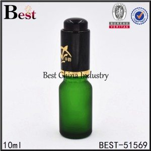 frosted matte green color cosmetic glass bottle with press dropper cap 10ml 30ml