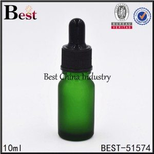 frosted green glass dropper bottle for cosmetic essence serum sample container 10ml