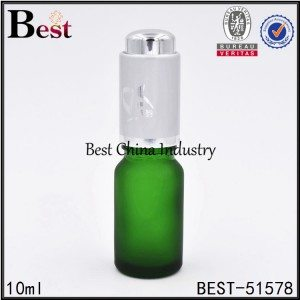 frosted green color cosmetic glass bottle with silver aluminum press dropper 10ml 15ml 30ml