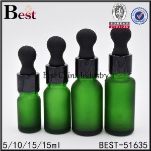 empty frosted green cosmetic dropper bottle 5 10 15 30ml