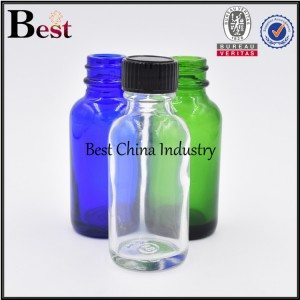 clear frosted green blue cosmetic Boston glass bottle with brush cap 1oz 2oz