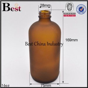cosmetic frosted brown amber color glass bottle Boston 16oz
