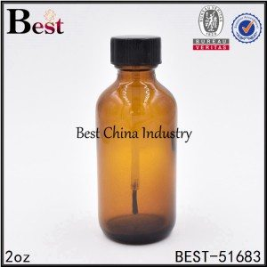 cosmetic amber color glass bottle with brush cap 2oz 60ml