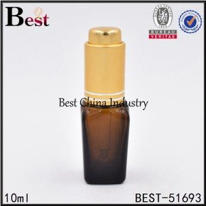 cosmetic amber color glass bottle with press pump dropper 10ml