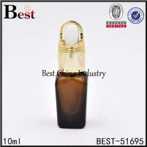 amber brown glass dropper bottle square shape 10ml 30ml 50ml