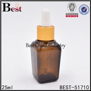 amber square glass bottle with dropper 25 ml