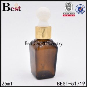 brown square glass bottle with dropper 25 ml