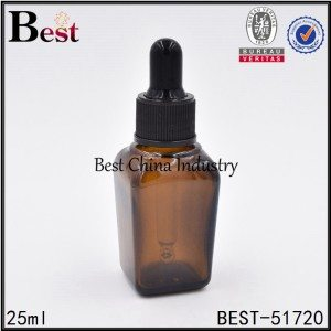 empty square glass bottle with dropper cap for cosmetic essence 25ml