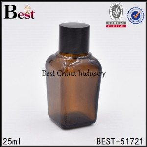 empty cosmetic square shape glass essential oil bottle for sell 25ml