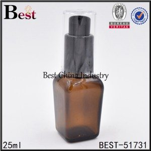 cosmetic square glass bottle with black pump 25ml 50ml
