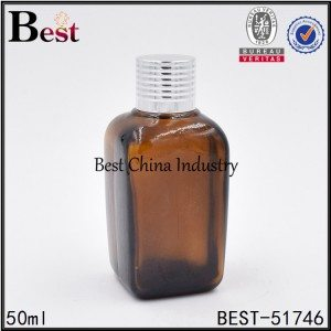 amber glass bottle with aluminum screw on lid 50 ml