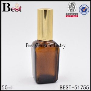 brown square glass bottle with sprayer 50 ml