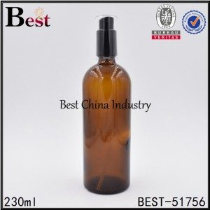 unique shape amber color cosmetic glass bottle with pump 230ml