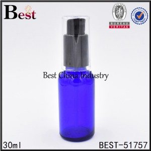 blue pink color glass bottle with lotion pump 30ml 1oz