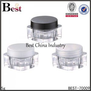 clear mini square cosmetic cream jar 5g