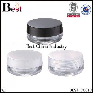 clear mini plastic cosmetic jar 3g