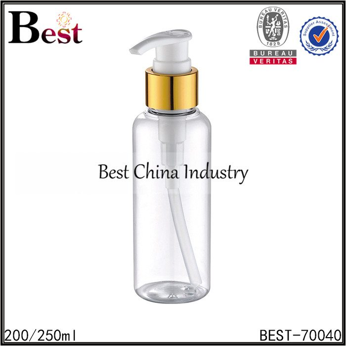 clear round plastic bottle with gold aluminum lotion pump 200/250ml