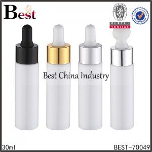 white travel size plastic bottle with gold aluminum dropper 30ml