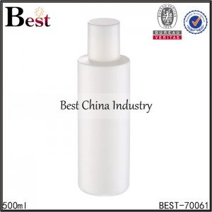 white PET plastic round bottle with screw cap 500ml