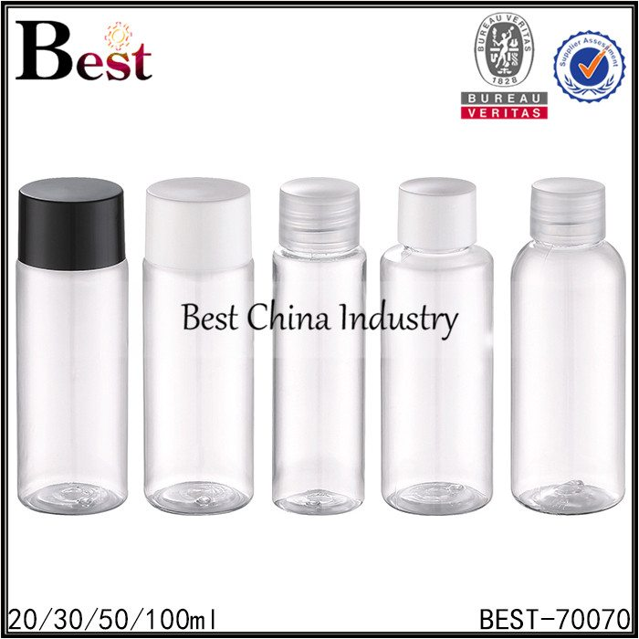 clear PET bottle with screw cap 20/30/50/100ml