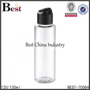 clear plastic bottle with flip top plastic cap 120/150ml