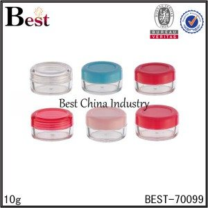 mini round clear plastic jar with screw cap 10g
