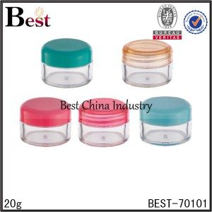 transparent PET plastic jar with colorful cap 20g