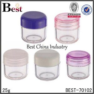 clear PET plastic jar with colorful cap 25g
