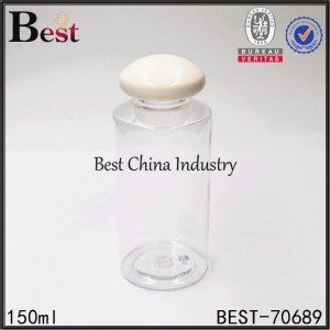 clear PEt plastic bottle with mushroom cap 100ml