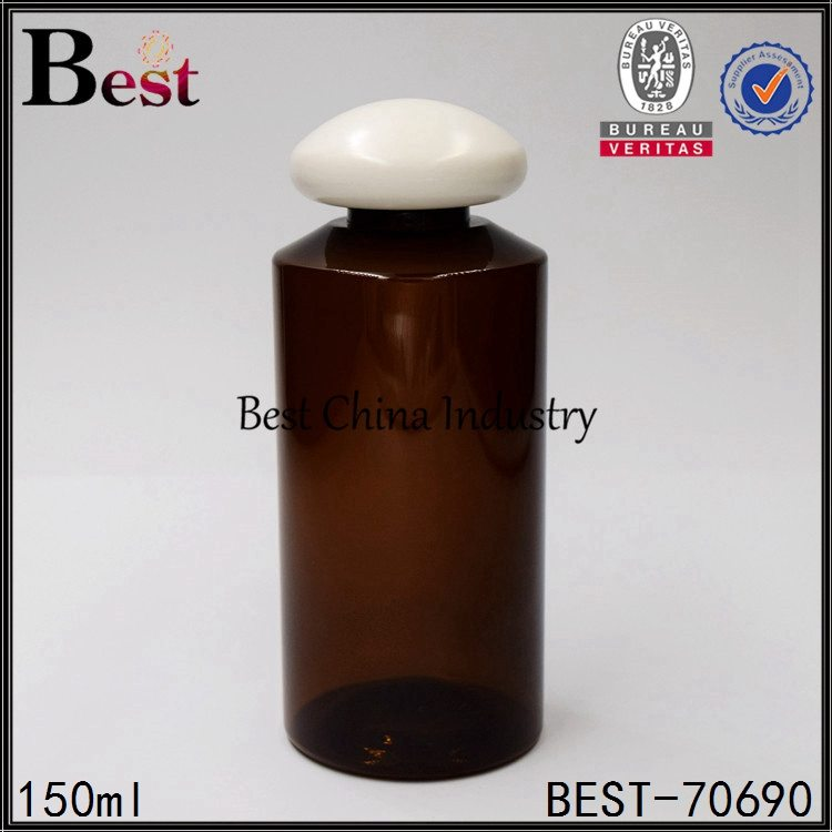 amber PET plastic bottle with mushroom cap 100ml
