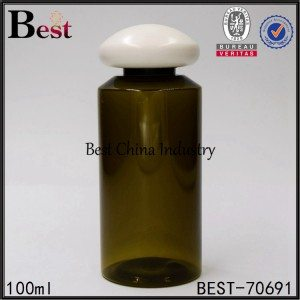 dark green PET plastic bottle with mushroom screw cap 100ml