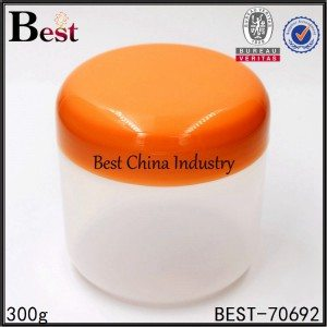 round PP plastic jar with orange plastic cap for gel mask 300g