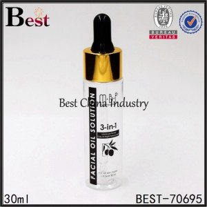 clear PET plastic dropper bottle with silk logo printing 30ml