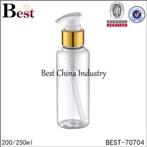 clear PET plastic bottle with gold aluminum lotion pump 200ml 250ml