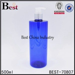 blue color PET plastic shampoo bottle with pump 500ml