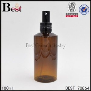amber PET plastic bottle with chicken mouth pump